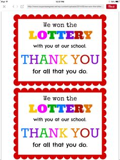 Lottery tickets are a great gift for teacher appreciation. This printable makes giving the gift that much more fun! : Lottery tickets are a great gift for teacher appreciation. This printable makes giving the gift that much more fun! Employee Appreciation Gifts, Volunteer Appreciation, Teacher Appreciation Week, Appreciation Quotes, Easy Teacher Gifts, Teacher Thank You, Teacher Presents, Teacher Treats, Teacher Cards