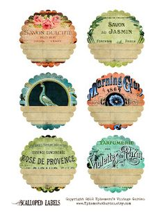 Ephemera's Vintage Garden:  Shabby Chic Scalloped Labels - free to download.