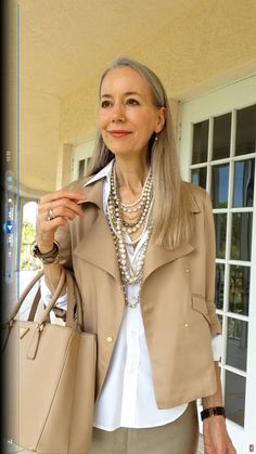Classic Fashion Over 40/Over 50: Ann Taylor Soft Moto Jacket, Pearls, Ralph Lauren Shirt & Prada Bag