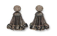 Hemmerle earrings, diamonds, smoky quartz tassel, dzi beads, bronze, silver, white gold