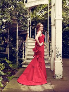 Laura Carmichael in an ravishing red Oscar de la Renta-Photo Courtesy of Vogue UK August 2011-Photography by Jason Bell.