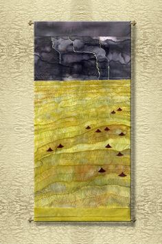 Ricefields  Original Painted and embroidered Silk by VyalaArts, $4900.00