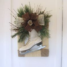 Ice Skate Rustic Framed Wreath with Burlap Bow and Twine Wrapped Frame. $52.00, via Etsy.