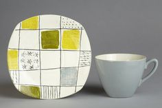 Chequers plate, cup and saucer. Designed by Terence Conran 1957, made by W. R. Midwinter Ltd. via V