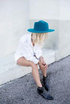 blue hat.