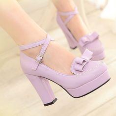 "Japanese sweet bow cute kawaii heeled  shoes Coupon code ""cutekawaii"" for 10% off"