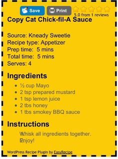 copy Cat Chick-fil-A Sauce Copycat Recipes, Sauce Recipes, New Recipes, Chicken Recipes, Favorite Recipes, Recipies, Chick Fil A Recipe Copycat, Homemade Seasonings, Homemade Sauce