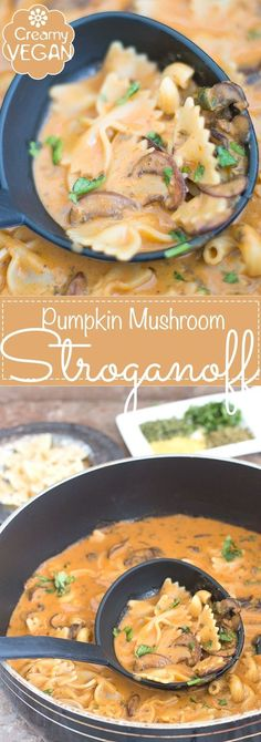 Vegan Creamy Mushroom Stroganoff made with Pumpkin Puree and Coconut Milk. This is the Perfect Weeknight Dinner Recipe. Add Rice or Pasta and Make this a Hearty Recipe. Made in Under 30 Minutes | easy vegan dinner, weeknight favorite, comfort food, family