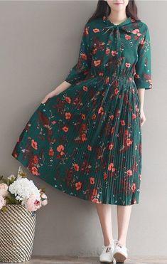 Women loose fit plus over size retro flower dress maxi skater skirt fashion chic #unbranded #womensfashionretroinspiration
