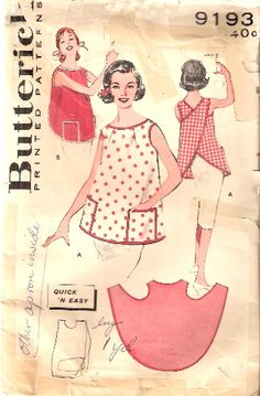 Butterick 9193 Vintage Sewing Pattern for Misses' Pull-Over Cross Back Apron - Uncut - Size Small Vintage Apron Pattern, Aprons Vintage, Vintage Sewing Patterns, Clothing Patterns, Dress Patterns, Apron Patterns, Coat Patterns, Retro Apron, Sewing Hacks