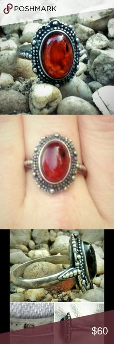 ❌HOLD Beautiful Vintage Sterling Silver Amber Ring Beautiful Vintage Sterling Silver Amber Ring. Stone is surrounded by intricate silver work. In excellent condition. Size 7. Vintage Jewelry Rings