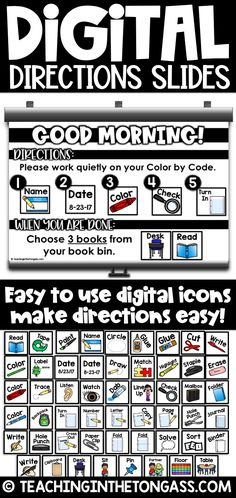 These DIGITAL class slides with moveable direction pieces are so convenient, versatile and practical and great for writing digital morning meeting slides. Student Teaching, Teaching Resources, Teaching Secondary, Math Classroom, Flipped Classroom, Google Classroom, Classroom Ideas, Teaching Technology, Technology Lessons