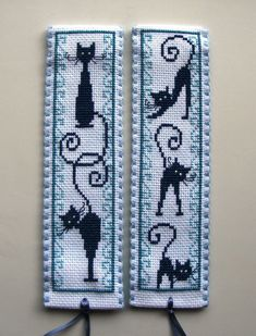 Marque-page-retro blue cats. Cross Stitch Bookmarks, Cross Stitch Books, Cross Stitch Animals, Cross Stitch Charts, Cross Stitch Designs, Cross Stitch Patterns, Cross Stitching, Cross Stitch Embroidery, Embroidery Patterns