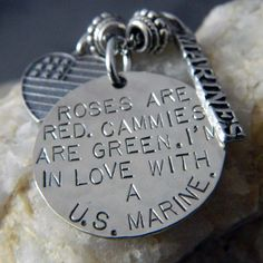 Roses are Red. Cammies are Green. I'm in Love with a US Marine Necklace. $36.00, via Etsy.