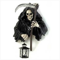 Grim Reaper Holding Candle Lantern Halloween Decor