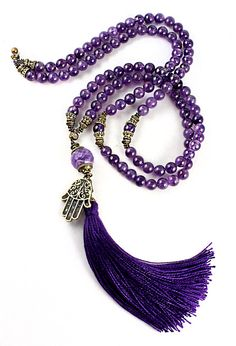 Amethyst Mala Beads Amethyst Necklace Yoga por goodmedicinegemstone
