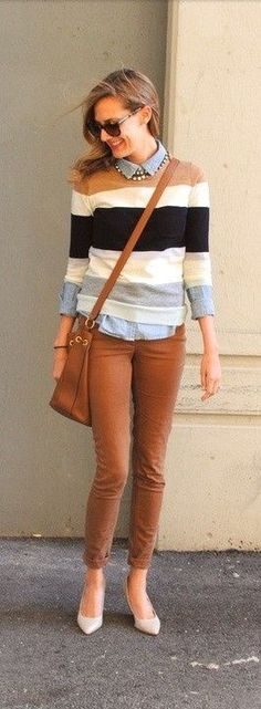 camel capri's with camel black and cream striped sweater over button down with matching camel crossbody. love this!