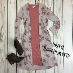 LuLaRoe Carly Dress with Sarah Cardigan and Toms booties. Join my shopping group to shop my outfits! www.facebook.com/groups/LuLaRoeJenny/