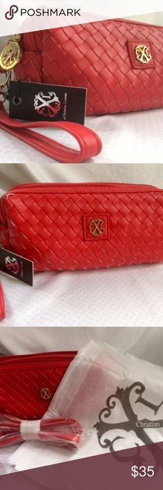 Christian Lacroix Crossbody Wristlet Lipstick Red NWT Christian Lacroix crossbody wristlet,  strap & dust bag included. Lipstick red weave pattern with reversed white edges, gold accents.   Timeless bag for any wardrobe, endless versatility. Fantastic for upcoming holiday parties, even Valentines day. It's never too early to start planning that outfit! Can be used all winter out on the town and through the summer daze hanging by the ocean. For the price, someone is going to get a steal and…