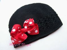 Baby Minnie Mouse Red n White polka dot Bow Hat Crochet Beanie / Infant Beanie & headband set by Baby K Designs