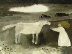 Mary Fedden - Girl with a white horse, 1984, Gouache
