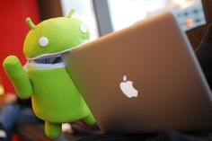 this is the android monster eating an apple! (he loves them he just wont admit it)