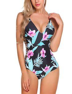 34182992c3d Ekouaer Swimwear Womens Monokini Swimsuits Sexy Cross Lace up Low Back  Print One Piece Bathing Suits S-XXL at Amazon Women's Clothing store: