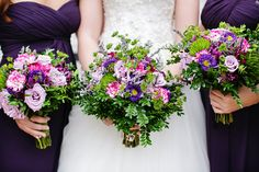 DeMuth-Eggleston Wedding Photo By Visions by Heather Wedding bouquets for a purple and green color scheme.