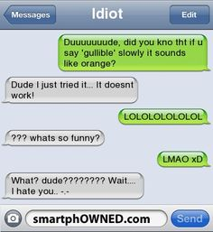 Other - Idiotduuuuuuude, did you kno tht if u say 'gullible' slowly it sounds like orange?dude i just tried it... It doesnt work!LOLOLOLOLOLOL ??? whats so funny?LMAO xDwhat? dude????????  Wait....  I hate you.. -.-