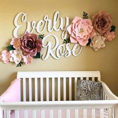 Baby Girl Nursery - Baby Girl Nursery - Cutout Name Signs - Two Names - girly happy nursery decor Rose Nursery, Nursery Room, Flower Nursery, Name In Nursery, Baby Girl Nursery Themes, Girl Nurseries, Girl Cribs, Baby Room Ideas For Girls, Nursery Signs
