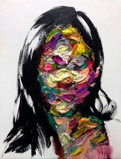 Girl's face covered with paint art