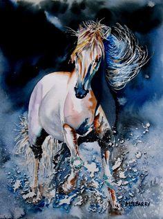 "Etsy, MariaBarryArt - Print of an Original watercolor Horse painting - ""Moonlit Gallop'"