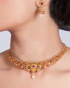 Buy the best Necklace Set Indian Jewelry online from the top Necklace Set manufacturer. Shop Bagh Necklace Set online from the top brand for the best traditional and classy looks. Jewelry Design Earrings, Gold Earrings Designs, Gold Jewellery, Punk Jewelry, Indian Gold Necklace Designs, Jewellery Designs, Gold Bangles, Bohemian Jewelry, Bridal Jewelry