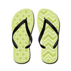 Fun #green mixed pattern #flipflops with #polkadots and a #zigzag pattern