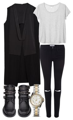 """""""Untitled #3197"""" by ieleanorcalderstyle ❤ liked on Polyvore featuring Frame Denim, Zara, Yves Saint Laurent, FOSSIL and Monki"""