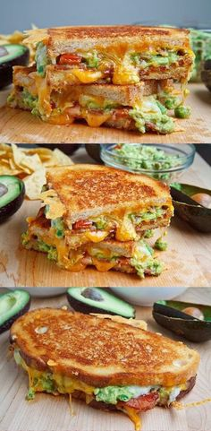 Bacon Guacamole Grilled Cheese Sandwich - Love with recipe. Could substitute the bacon with maybe turkey bacon or turkey slices Gourmet Grill, Party Sandwiches, Wrap Sandwiches, Steak Sandwiches, Best Avocado Recipes, Grill Cheese Sandwich Recipes, Burger Recipes, Avocado Dessert, Reuben Sandwich