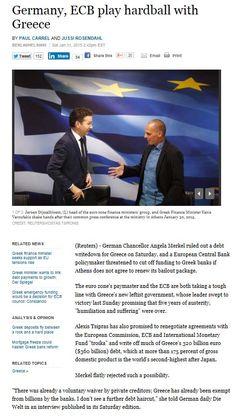 Germany, ECB play hardball with Greece 31 ene 2015 http://www.reuters.com/article/2015/01/31/us-eurozone-greece-idUSKBN0L40IL20150131