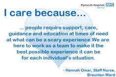 This is why Hannah, a Staff Nurse on Braunton Ward, cares. Midwifery, I Care, Trust Me, A Team, Education, Onderwijs, Learning