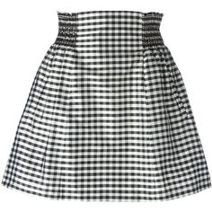 Mauro Grifoni Vichy Check Print Skirt (€115) ❤ liked on Polyvore featuring skirts, black, checked skirt, mauro grifoni, checkered skirt, cotton skirt and checkerboard skirt