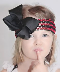 This Black & Red Bow Crocheted Headband is perfect! #zulilyfinds