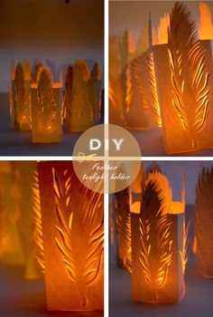 free printable feather tealight holder