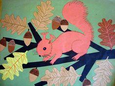 Book Illustration by Halina Gutsche Vintage Illustration Art, Book Illustrations, Pink Squirrel, Green Logo, Sketchbook Inspiration, Chipmunks, Pictures To Draw, Vintage Pictures, Autumn Leaves