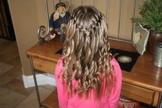 (Waterfall Braid with Spiral Curls) I have to have girls so I can do their hair like this! Cute Girls Hairstyles, Flower Girl Hairstyles, Pretty Hairstyles, Braided Hairstyles, Toddler Hairstyles, Princess Hairstyles, Natural Hairstyles, Curly Hairstyle, Short Hairstyles