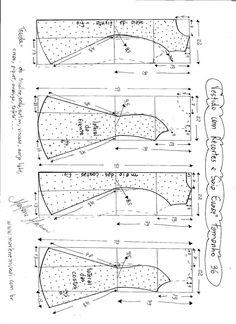 The best DIY projects & DIY ideas and tutorials: sewing, paper craft, DIY. DIY Women's Clothing : Esquema de modelagem e vestido com recorte evasê tamanho -Read Visite o post para mais. Dress Sewing Patterns, Sewing Patterns Free, Free Sewing, Clothing Patterns, Sewing Hacks, Sewing Tutorials, Sewing Projects, Techniques Couture, Sewing Techniques