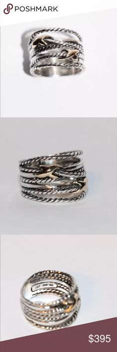 David Yurman Double X Gold & Silver Crossover Ring David Yurman Double X Gold & Silver Crossover Ring • Size 7 • Sterling Silver braided band with 18k gold Xs • Classic David Yurman • From the X Collection • In excellent condition • David Yurman Jewelry Rings