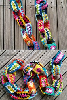 [Free Pattern] Easy And Really Addictive Granny Yarn Chain - Knit And Crochet Daily - Granny Square Crochet Squares, Crochet Granny, Crochet Stitches, Granny Squares, Crochet Bunting Pattern, Granny Pattern, Crochet Motif, Crochet Ideas, Crafts