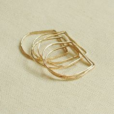 One Golden Square Top Thread of Gold - Yellow or Rose - Tiny Hammered Stacking Ring - Delicate Jewelry - First Knuckle Ring. $9.75, via Etsy.