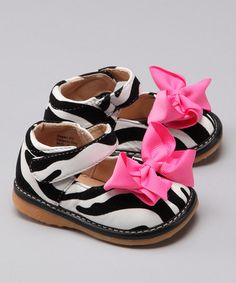 Take a look at this Black Zebra Squeaker Mary Jane by Laniecakes on #zulily today!
