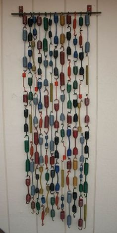 Painted springs outdoor art, garden art, rain chains, 4 h, paint spring, wind chimes, old bed springs, baby cribs, thing