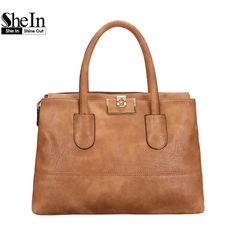 SheIn 2016 Ladies Fashion High Street Handbags and Crossbody Bags Womens Casual Brown Large Metal Buckle PU Tote Bag
